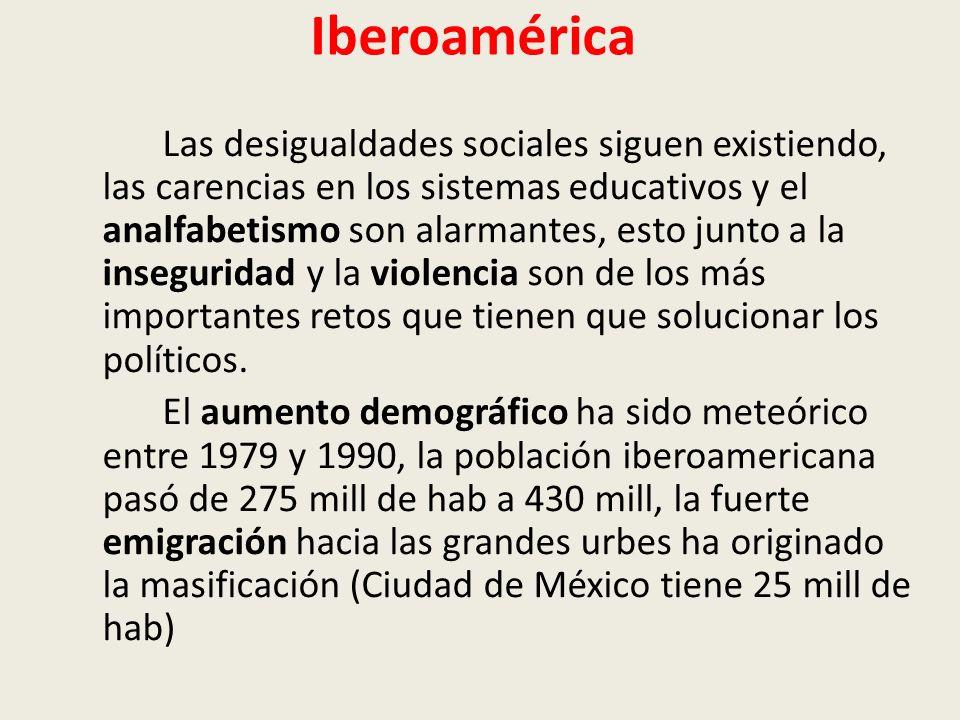 Iberoamérica Las desigualdades sociales siguen existiendo, las carencias en los sistemas educativos y el analfabetismo son alarmantes, esto junto a la inseguridad y la violencia son de los más importantes retos que tienen que solucionar los políticos.