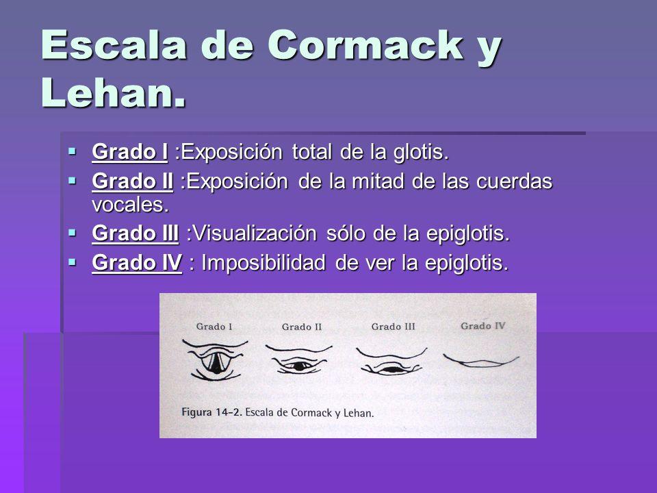 Escala de Cormack y Lehan. Grado I :Exposición total de la glotis. Grado I :Exposición total de la glotis. Grado II :Exposición de la mitad de las cue