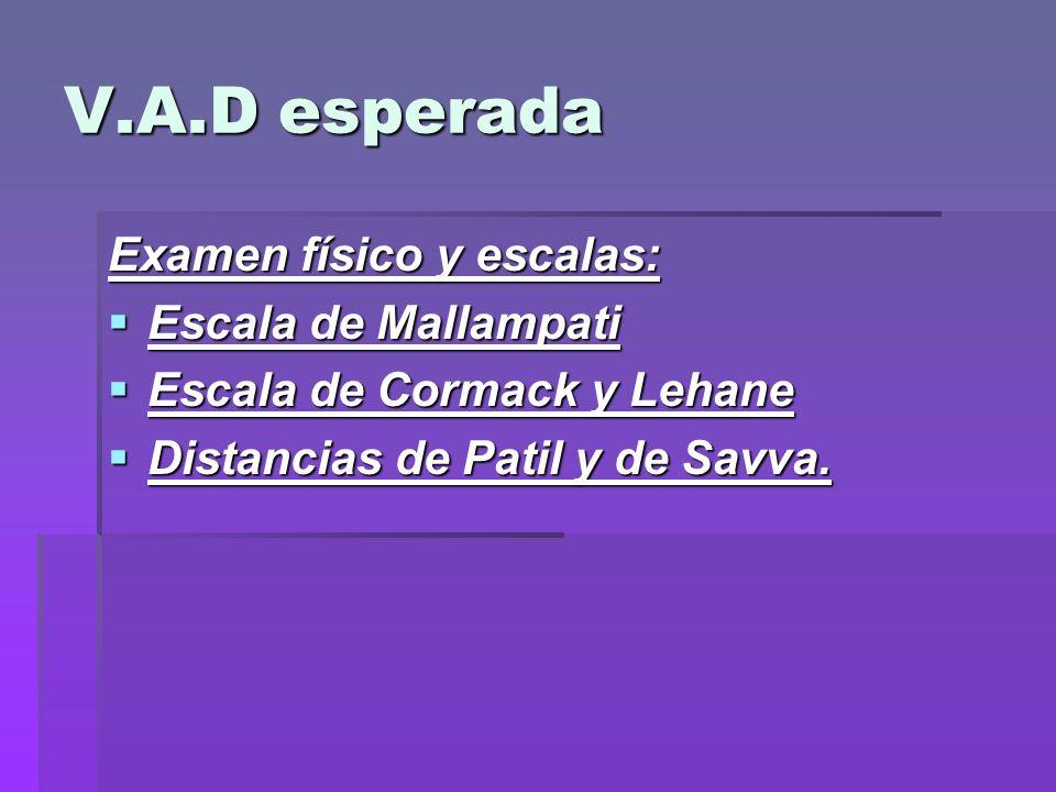 V.A.D esperada Examen físico y escalas: Escala de Mallampati Escala de Mallampati Escala de Cormack y Lehane Escala de Cormack y Lehane Distancias de