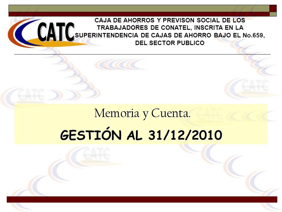 Memoria y Cuenta. Memoria y Cuenta. GESTIÓN AL 31/12/2010 CAJA DE AHORROS Y PREVISON SOCIAL DE LOS TRABAJADORES DE CONATEL, INSCRITA EN LA SUPERINTEND