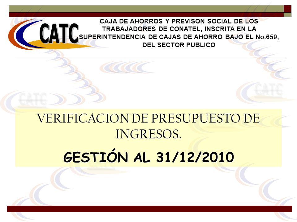 VERIFICACION DE PRESUPUESTO DE INGRESOS. GESTIÓN AL 31/12/2010 CAJA DE AHORROS Y PREVISON SOCIAL DE LOS TRABAJADORES DE CONATEL, INSCRITA EN LA SUPERI