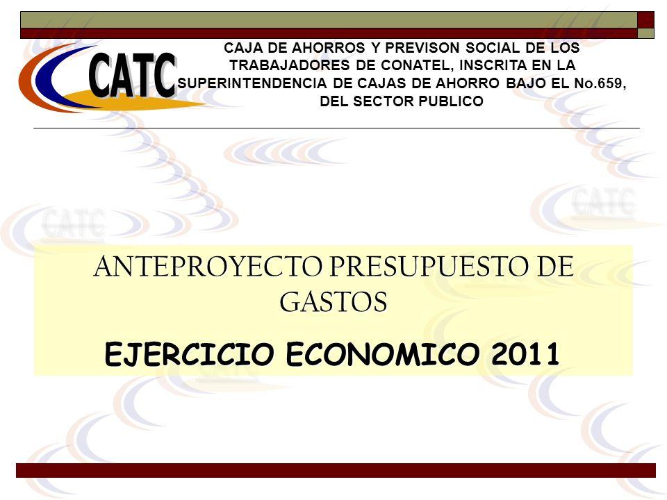 ANTEPROYECTO PRESUPUESTO DE GASTOS EJERCICIO ECONOMICO 2011 CAJA DE AHORROS Y PREVISON SOCIAL DE LOS TRABAJADORES DE CONATEL, INSCRITA EN LA SUPERINTE