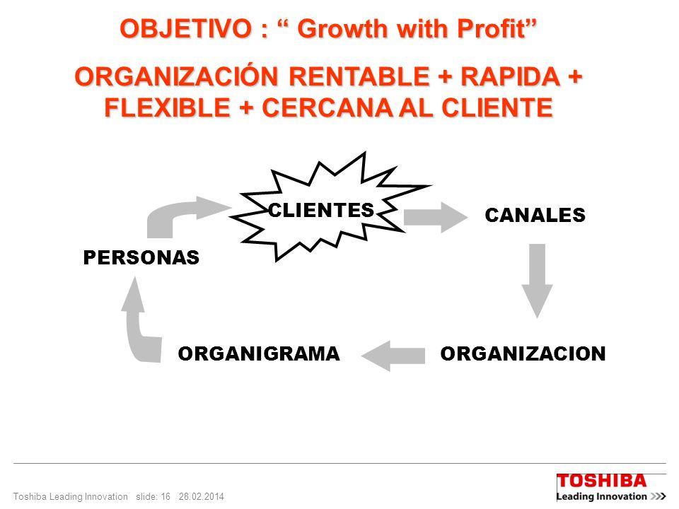 Toshiba Leading Innovation slide: 16 28.02.2014 OBJETIVO : Growth with Profit ORGANIZACIÓN RENTABLE + RAPIDA + FLEXIBLE + CERCANA AL CLIENTE PERSONAS CLIENTES CANALES ORGANIGRAMAORGANIZACION