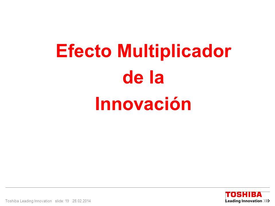 Toshiba Leading Innovation slide: 19 28.02.2014 Efecto Multiplicador de la Innovación