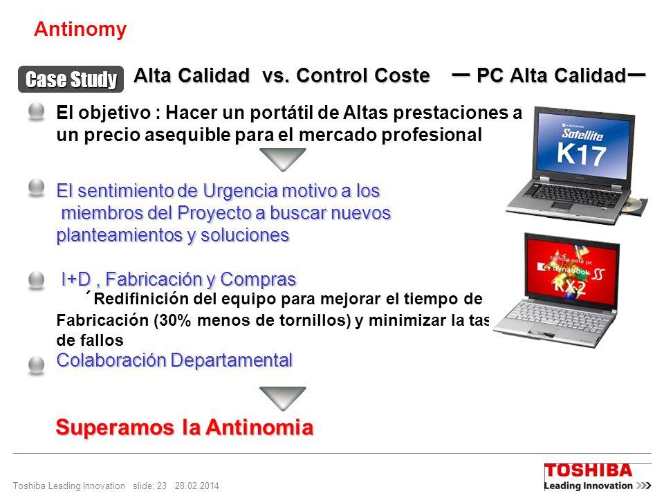 Toshiba Leading Innovation slide: 23 28.02.2014 El sentimiento de Urgencia motivo a los miembros del Proyecto a buscar nuevos miembros del Proyecto a