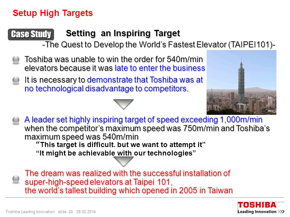 Toshiba Leading Innovation slide: 24 28.02.2014 -The Quest to Develop the Worlds Fastest Elevator (TAIPEI101)- Setting an Inspiring Target Toshiba was