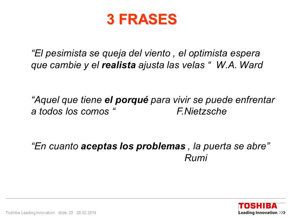 Toshiba Leading Innovation slide: 29 28.02.2014 3 FRASES 3 FRASES El pesimista se queja del viento, el optimista espera que cambie y el realista ajusta las velas W.A.