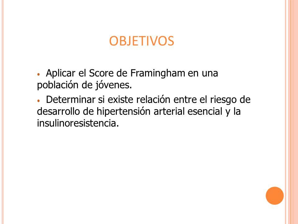 Aplicar el Score de Framingham en una población de jóvenes. Determinar si existe relación entre el riesgo de desarrollo de hipertensión arterial esenc