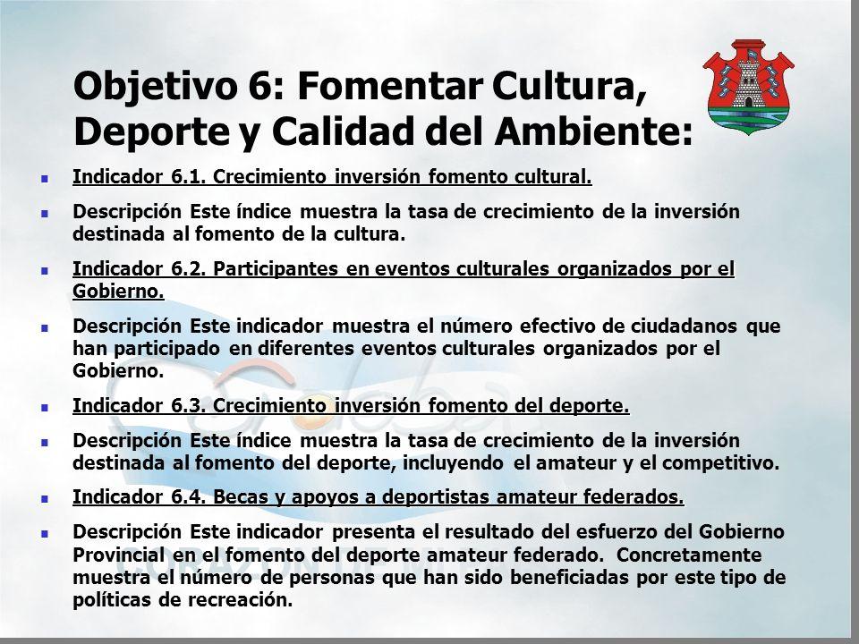 Objetivo 6: Fomentar Cultura, Deporte y Calidad del Ambiente: Indicador 6.1.