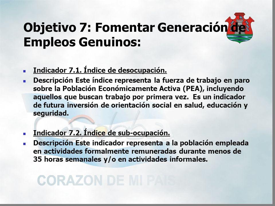 Objetivo 7: Fomentar Generación de Empleos Genuinos: Indicador 7.1.