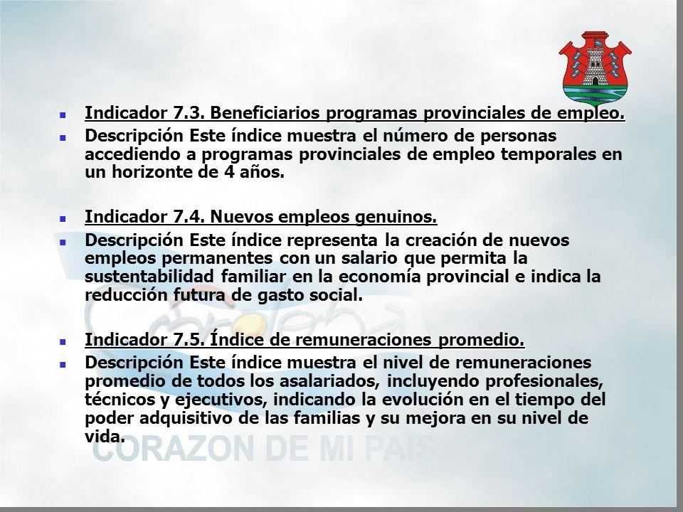 Indicador 7.3. Beneficiarios programas provinciales de empleo.