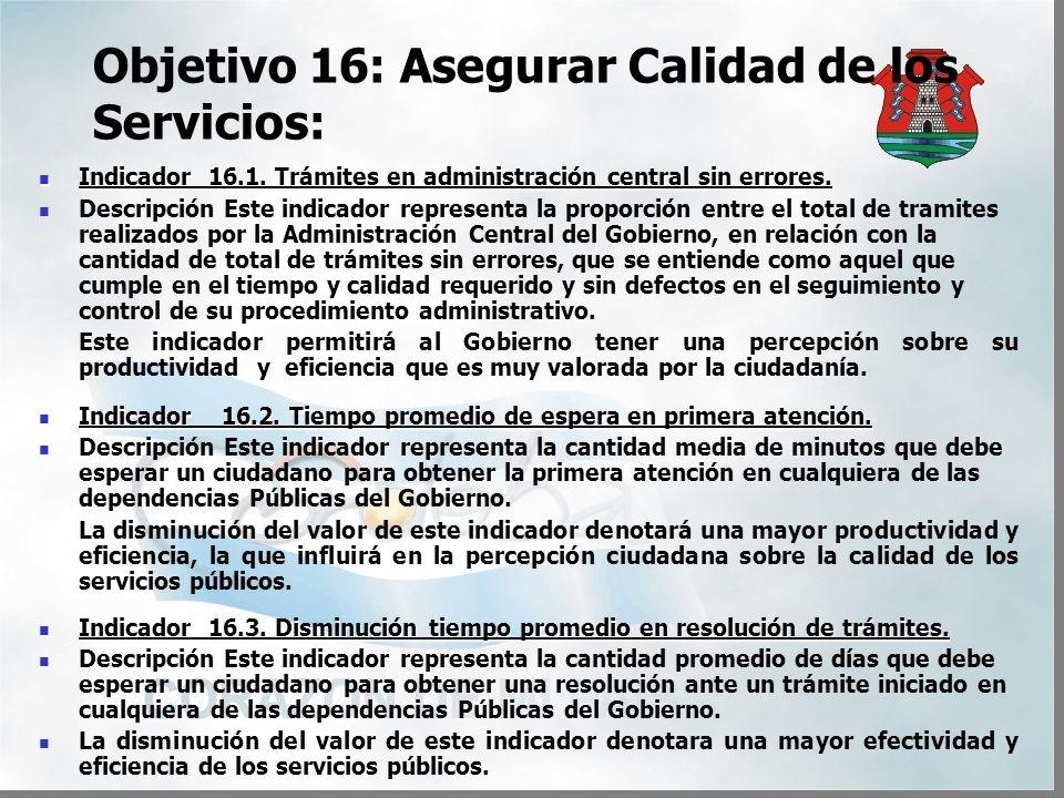 Objetivo 16: Asegurar Calidad de los Servicios: Indicador 16.1.