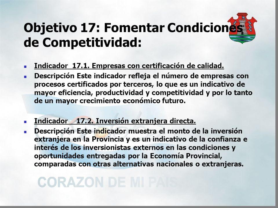 Objetivo 17: Fomentar Condiciones de Competitividad: Indicador 17.1.