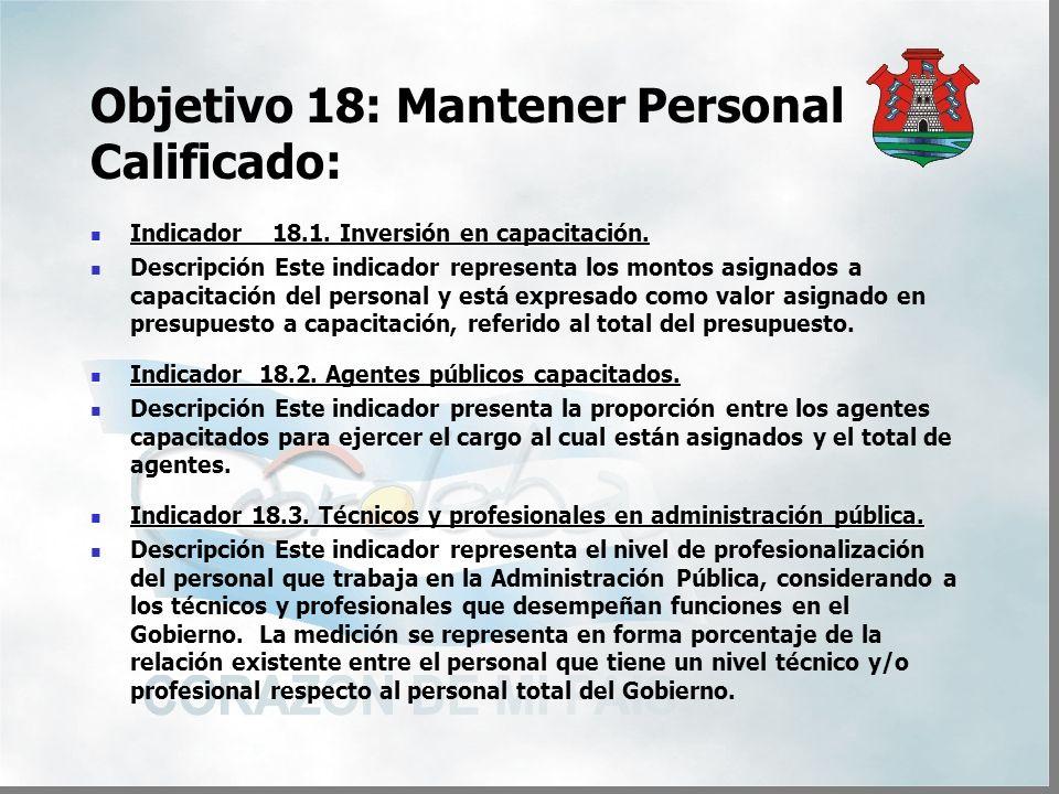 Objetivo 18: Mantener Personal Calificado: Indicador 18.1.