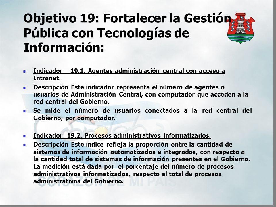 Objetivo 19: Fortalecer la Gestión Pública con Tecnologías de Información: Indicador 19.1.
