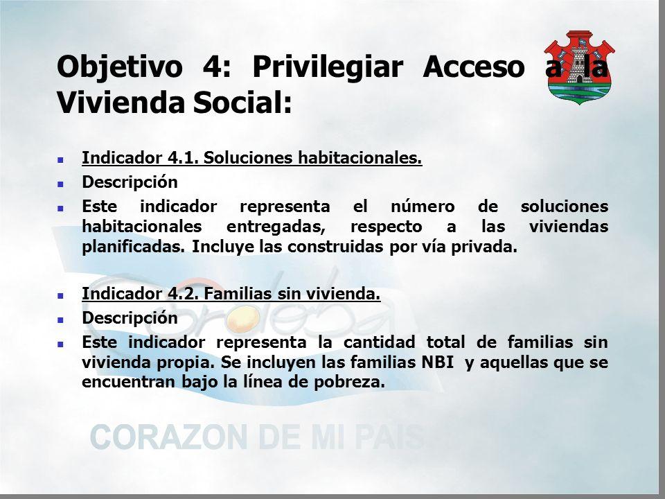 Objetivo 4: Privilegiar Acceso a la Vivienda Social: Indicador 4.1.
