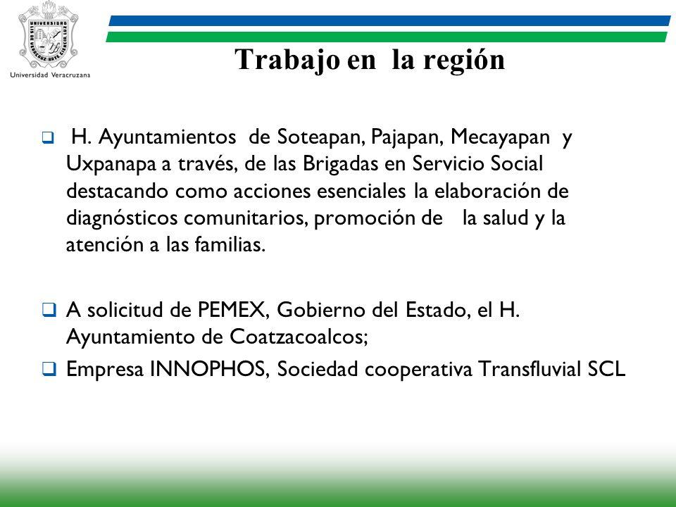 Trabajo en la región H. Ayuntamientos de Soteapan, Pajapan, Mecayapan y Uxpanapa a través, de las Brigadas en Servicio Social destacando como acciones