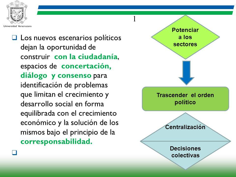 l Los nuevos escenarios políticos dejan la oportunidad de construir con la ciudadanía, espacios de concertación, diálogo y consenso para identificació