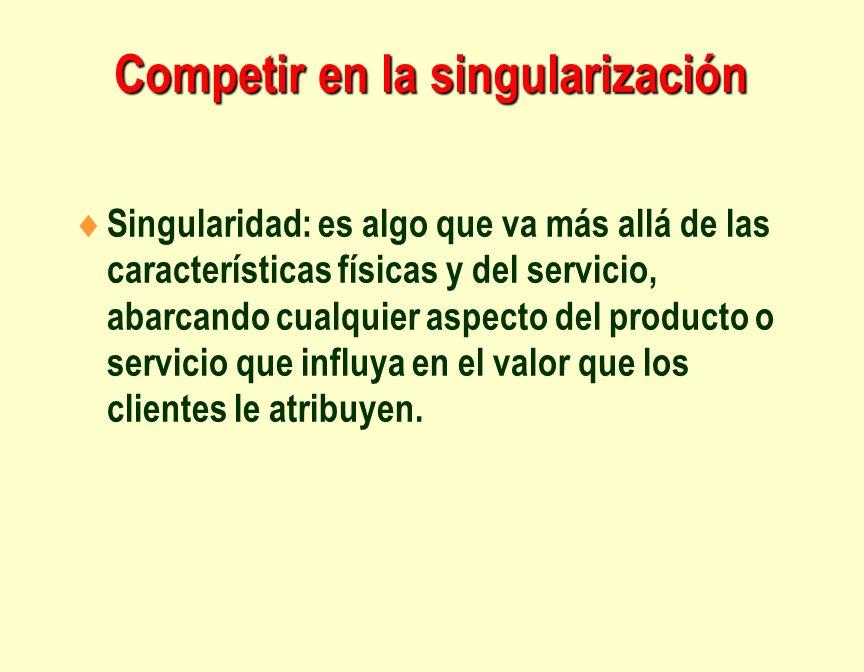 Competir en la singularización Singularidad: es algo que va más allá de las características físicas y del servicio, abarcando cualquier aspecto del pr