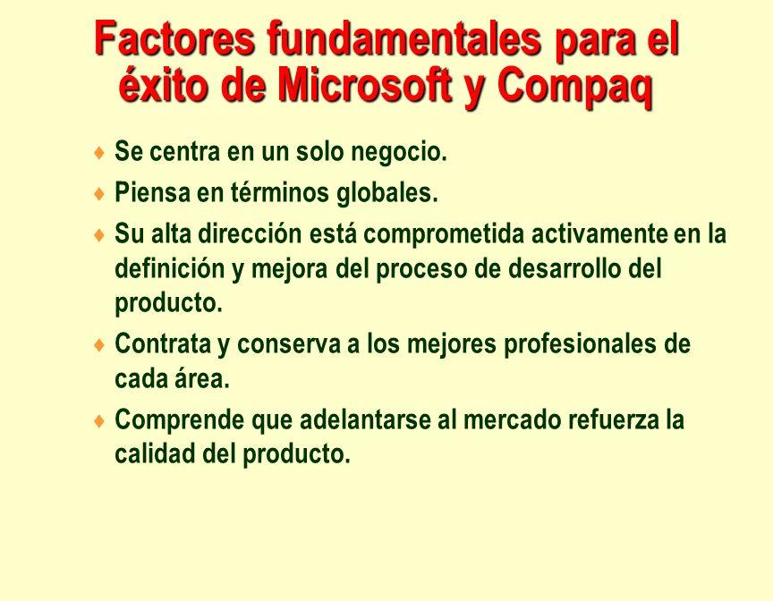 Factores fundamentales para el éxito de Microsoft y Compaq Se centra en un solo negocio. Piensa en términos globales. Su alta dirección está compromet