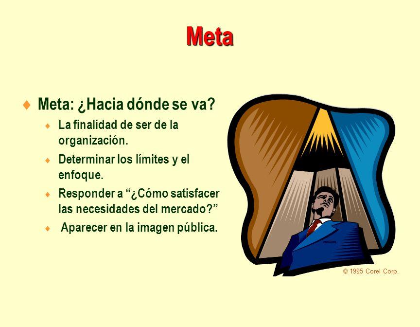 Meta Meta: ¿Hacia dónde se va? La finalidad de ser de la organización. Determinar los límites y el enfoque. Responder a ¿Cómo satisfacer las necesidad