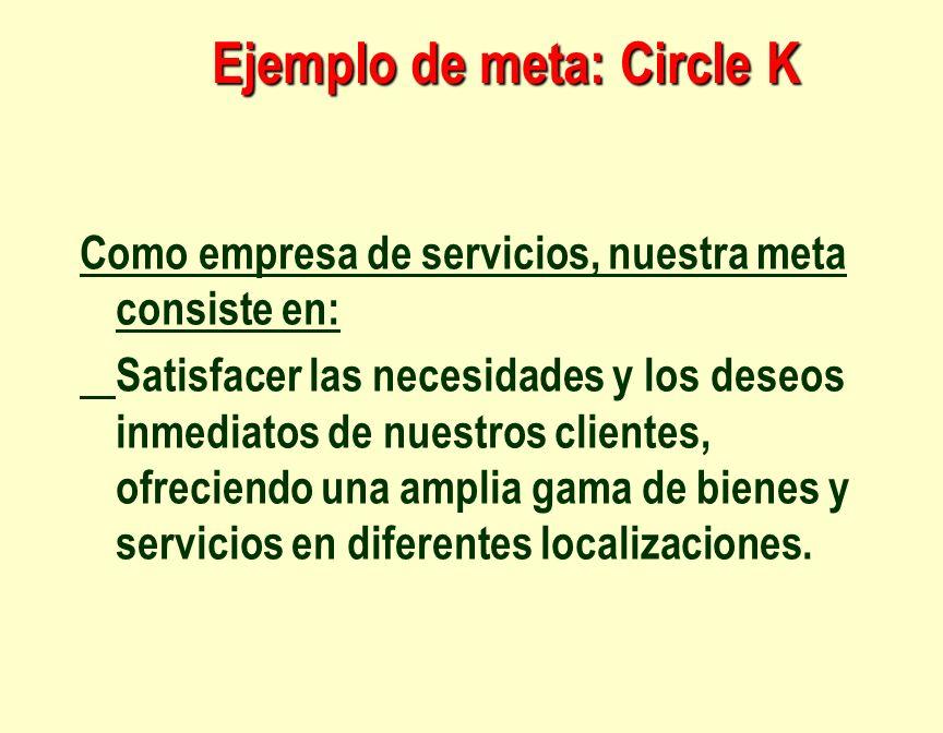 Ejemplo de meta: Circle K Como empresa de servicios, nuestra meta consiste en: Satisfacer las necesidades y los deseos inmediatos de nuestros clientes