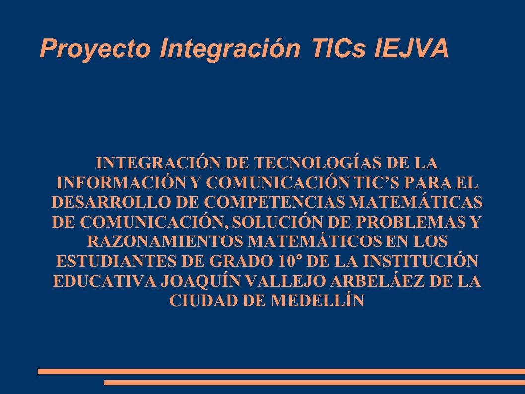 Proyecto Integración TICs IEJVA INTEGRACIÓN DE TECNOLOGÍAS DE LA INFORMACIÓN Y COMUNICACIÓN TICS PARA EL DESARROLLO DE COMPETENCIAS MATEMÁTICAS DE COM