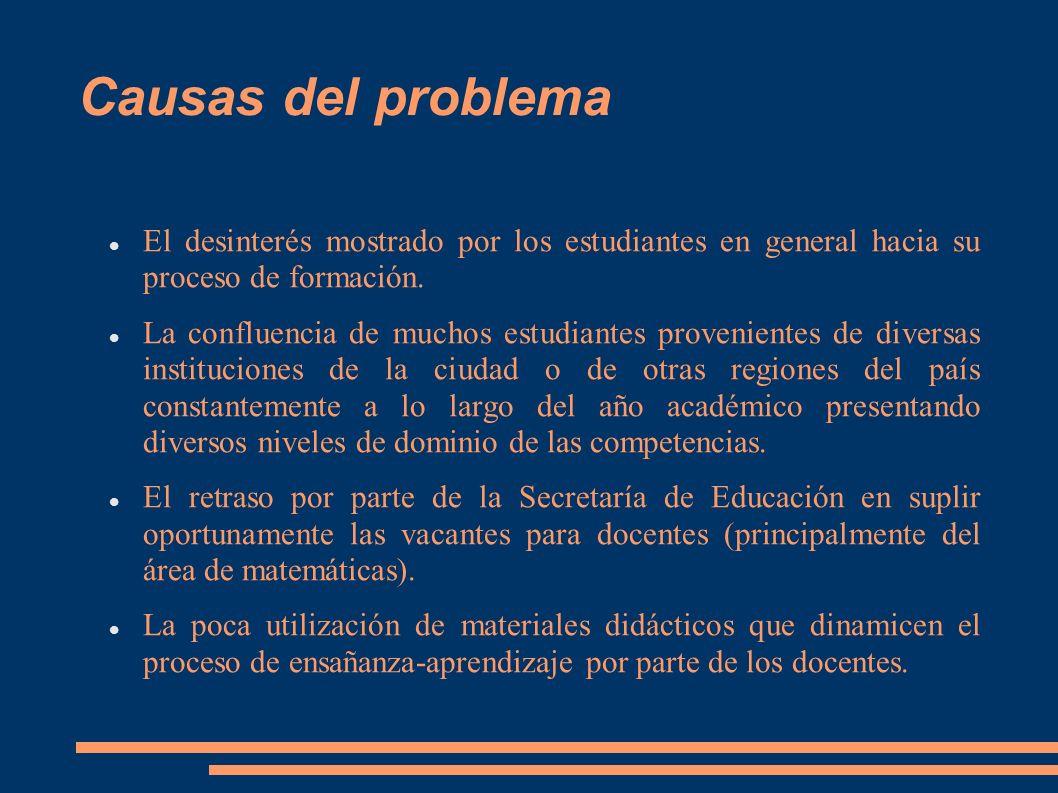 Causas del problema El desinterés mostrado por los estudiantes en general hacia su proceso de formación. La confluencia de muchos estudiantes provenie