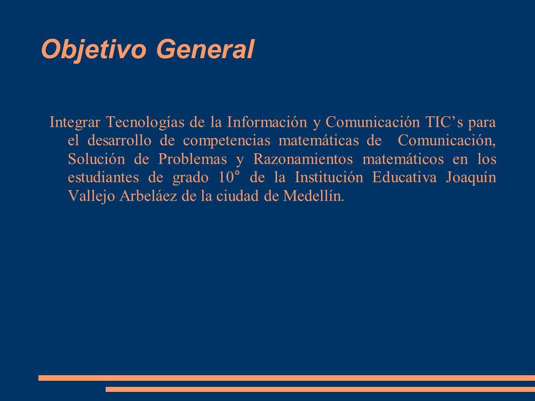 Objetivo General Integrar Tecnologías de la Información y Comunicación TICs para el desarrollo de competencias matemáticas de Comunicación, Solución d