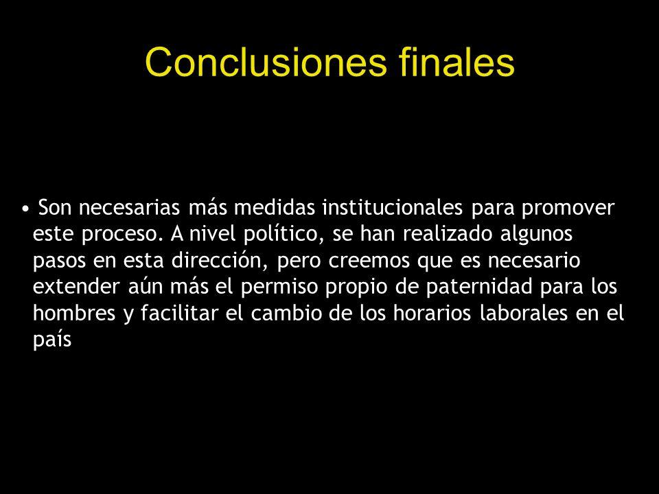 Conclusiones finales Son necesarias más medidas institucionales para promover este proceso. A nivel político, se han realizado algunos pasos en esta d
