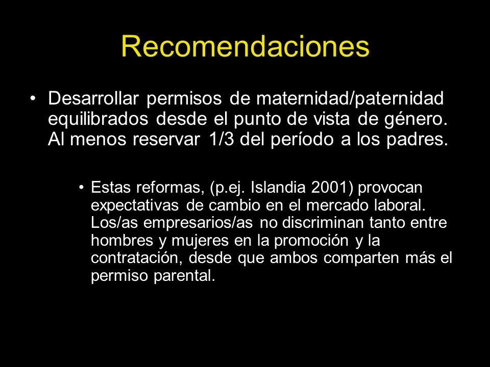 Recomendaciones Desarrollar permisos de maternidad/paternidad equilibrados desde el punto de vista de género. Al menos reservar 1/3 del período a los