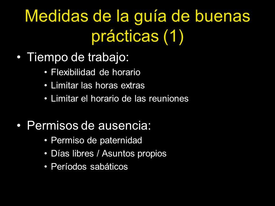 Medidas de la guía de buenas prácticas (1) Tiempo de trabajo: Flexibilidad de horario Limitar las horas extras Limitar el horario de las reuniones Per