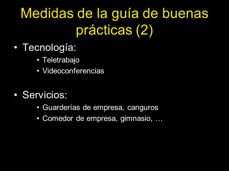Medidas de la guía de buenas prácticas (2) Tecnología: Teletrabajo Videoconferencias Servicios: Guarderías de empresa, canguros Comedor de empresa, gi