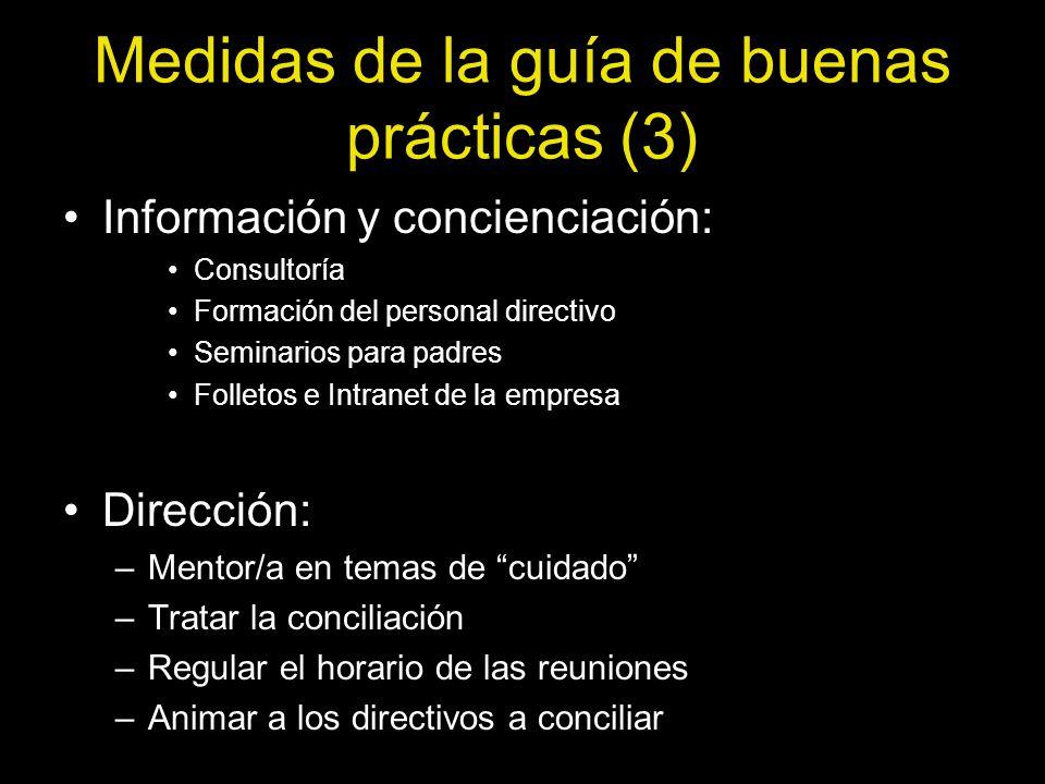 Medidas de la guía de buenas prácticas (3) Información y concienciación: Consultoría Formación del personal directivo Seminarios para padres Folletos