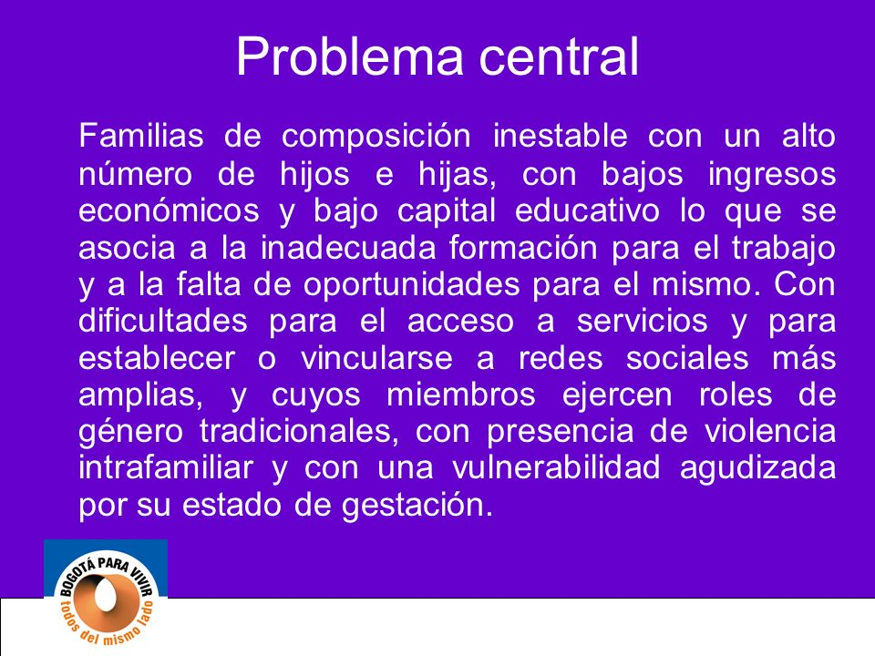 Problema central Familias de composición inestable con un alto número de hijos e hijas, con bajos ingresos económicos y bajo capital educativo lo que