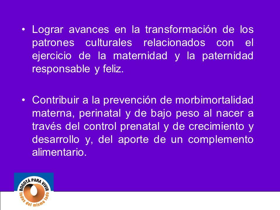Lograr avances en la transformación de los patrones culturales relacionados con el ejercicio de la maternidad y la paternidad responsable y feliz. Con