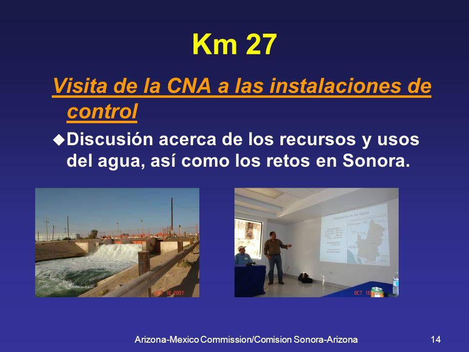 Arizona-Mexico Commission/Comision Sonora-Arizona14 Km 27 Visita de la CNA a las instalaciones de control Discusión acerca de los recursos y usos del