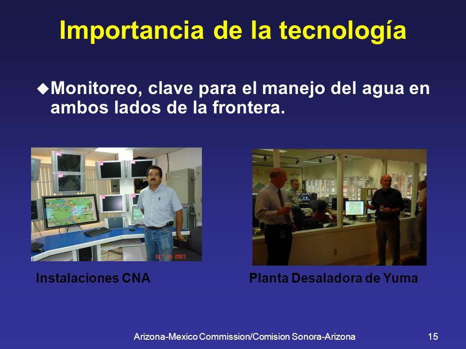 Arizona-Mexico Commission/Comision Sonora-Arizona15 Importancia de la tecnología Monitoreo, clave para el manejo del agua en ambos lados de la fronter