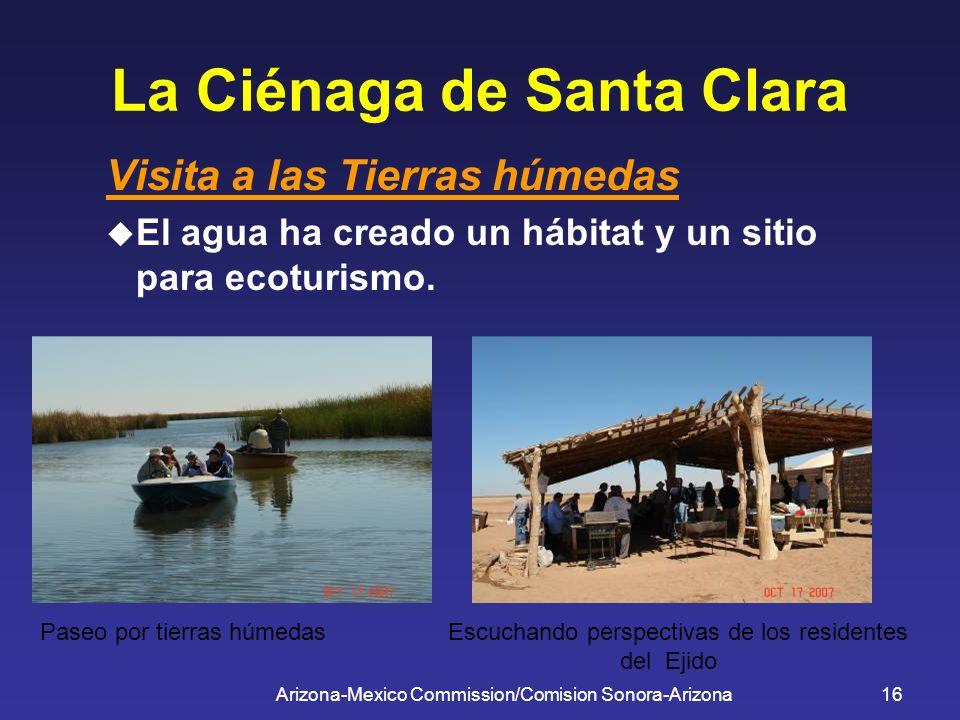 Arizona-Mexico Commission/Comision Sonora-Arizona16 La Ciénaga de Santa Clara Visita a las Tierras húmedas El agua ha creado un hábitat y un sitio par