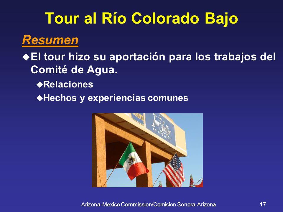 Arizona-Mexico Commission/Comision Sonora-Arizona17 Tour al Río Colorado Bajo Resumen El tour hizo su aportación para los trabajos del Comité de Agua.