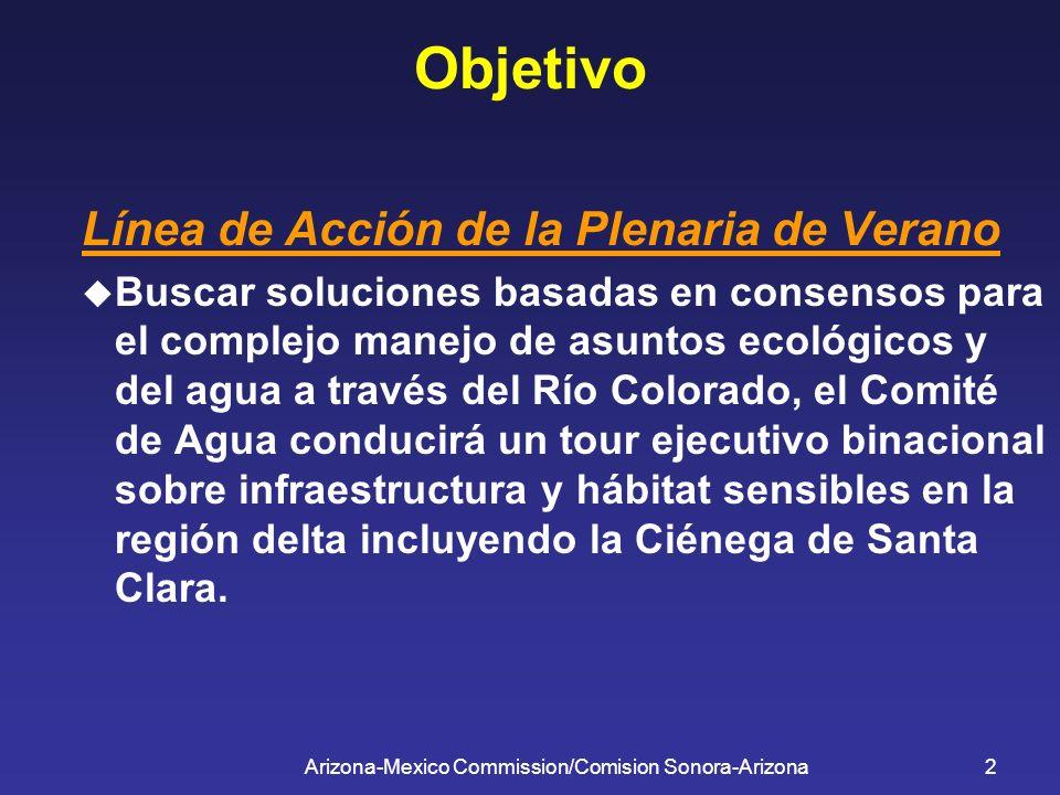 Arizona-Mexico Commission/Comision Sonora-Arizona2 Objetivo Línea de Acción de la Plenaria de Verano Buscar soluciones basadas en consensos para el co