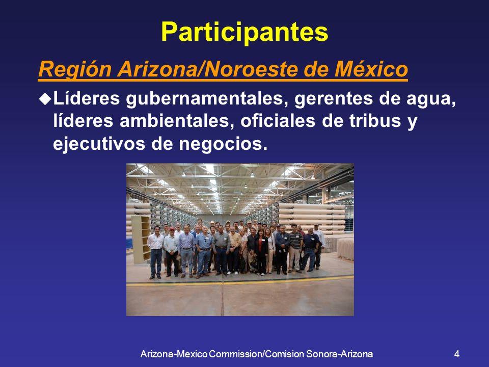 Arizona-Mexico Commission/Comision Sonora-Arizona4 Participantes Región Arizona/Noroeste de México Líderes gubernamentales, gerentes de agua, líderes