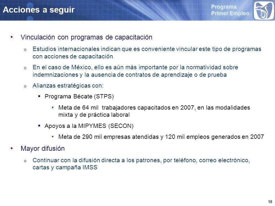 Programa Primer Empleo 18 Acciones a seguir Vinculación con programas de capacitación o Estudios internacionales indican que es conveniente vincular este tipo de programas con acciones de capacitación o En el caso de México, ello es aún más importante por la normatividad sobre indemnizaciones y la ausencia de contratos de aprendizaje o de prueba o Alianzas estratégicas con: Programa Bécate (STPS) Meta de 64 mil trabajadores capacitados en 2007, en las modalidades mixta y de práctica laboral Apoyos a la MIPYMES (SECON) Meta de 290 mil empresas atendidas y 120 mil empleos generados en 2007 Mayor difusión o Continuar con la difusión directa a los patrones, por teléfono, correo electrónico, cartas y campaña IMSS