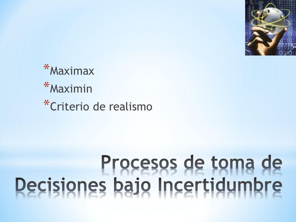 * Maximax * Maximin * Criterio de realismo