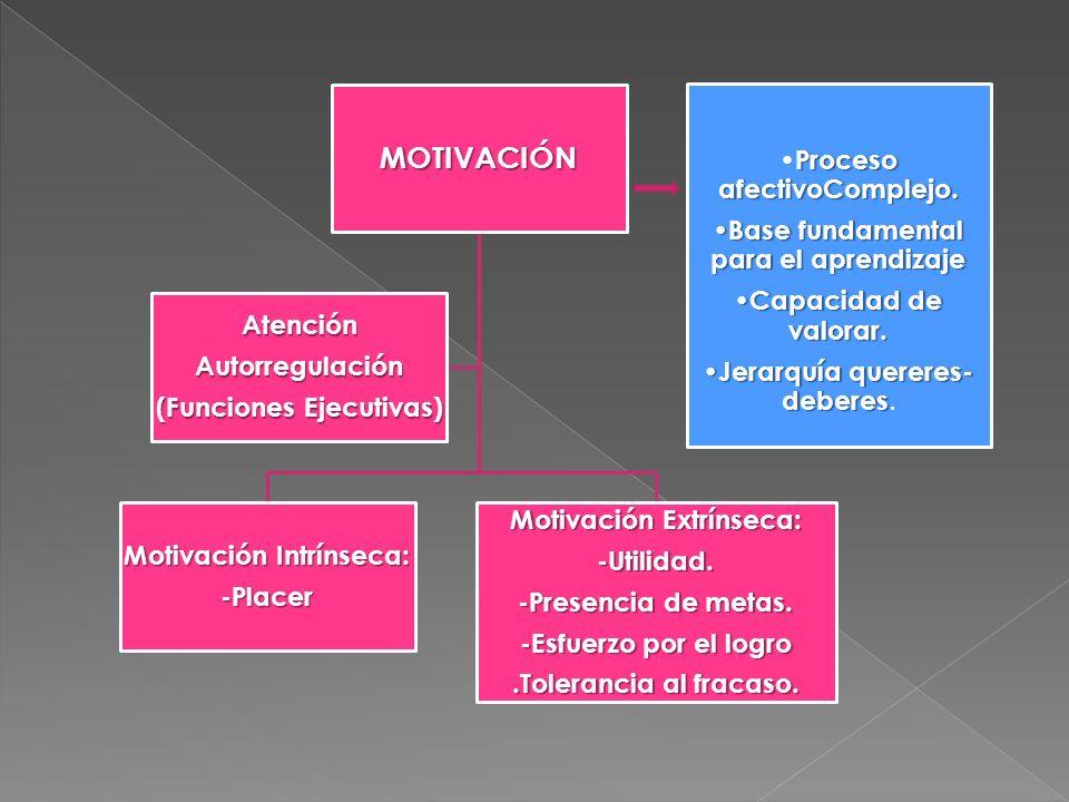 MOTIVACIÓN Motivación Intrínseca: -Placer Motivación Extrínseca: -Utilidad. -Presencia de metas. -Esfuerzo por el logro.Tolerancia al fracaso. Atenció