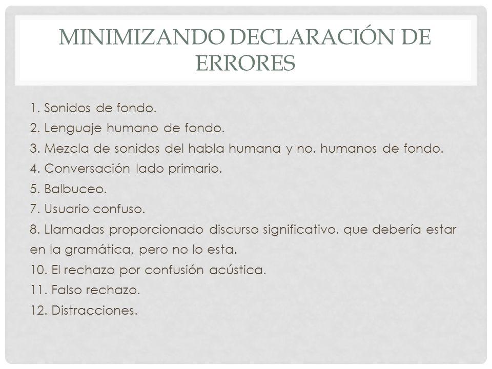 MINIMIZANDO DECLARACIÓN DE ERRORES 1.Sonidos de fondo.