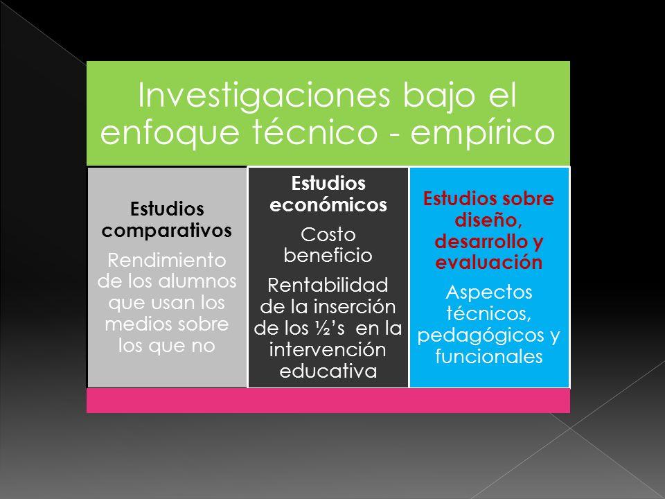 Investigaciones bajo el enfoque técnico - empírico Estudios comparativos Rendimiento de los alumnos que usan los medios sobre los que no Estudios econ