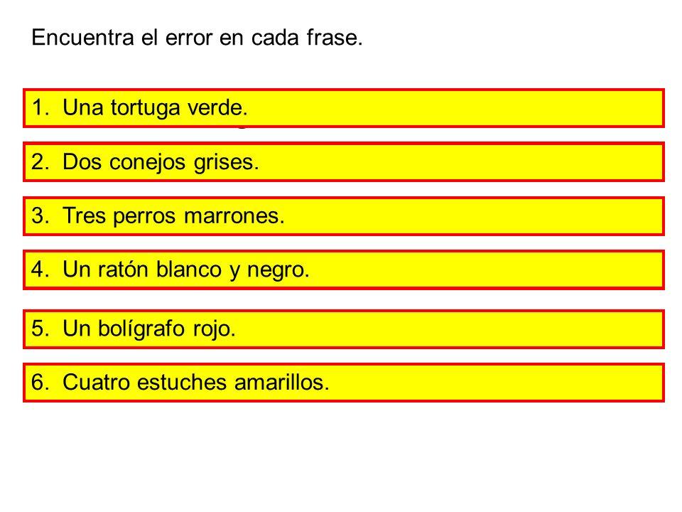 1.Una tortuga verda. Encuentra el error en cada frase.