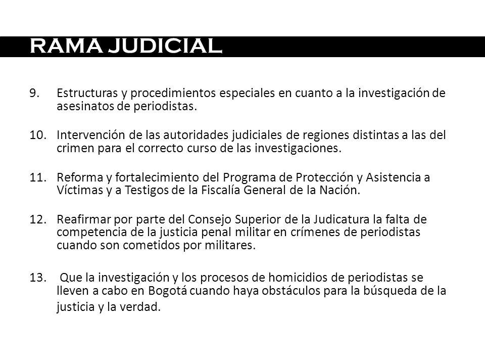 9.Estructuras y procedimientos especiales en cuanto a la investigación de asesinatos de periodistas. 10.Intervención de las autoridades judiciales de