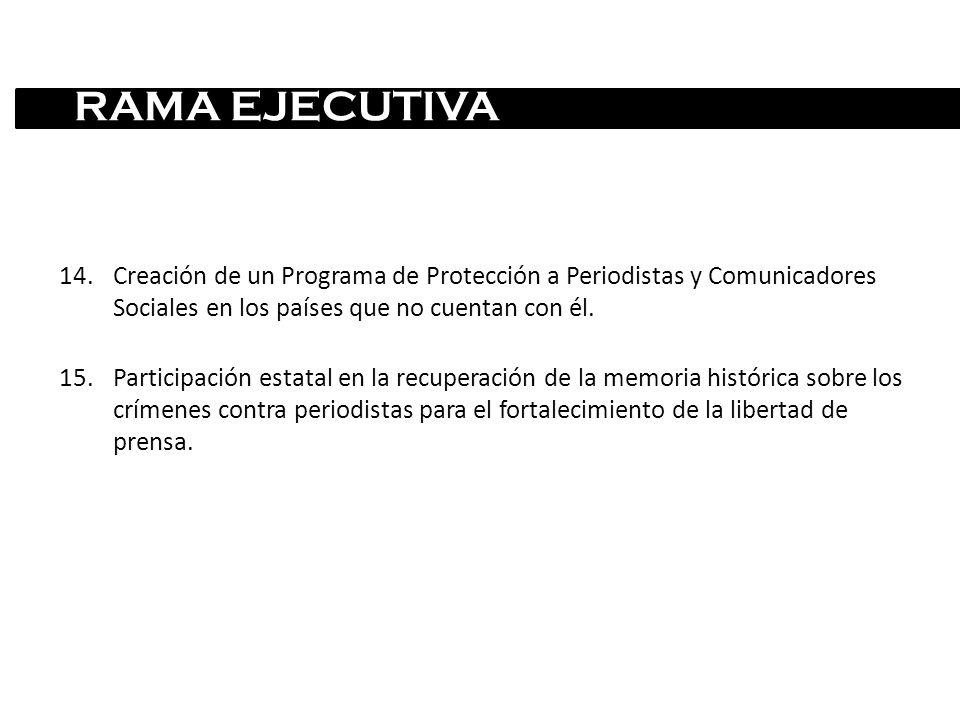 14.Creación de un Programa de Protección a Periodistas y Comunicadores Sociales en los países que no cuentan con él. 15.Participación estatal en la re